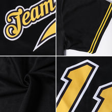 Load image into Gallery viewer, Custom Black Gold-White Authentic Throwback Rib-Knit Baseball Jersey Shirt