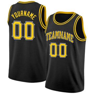 Custom Black Gold-White Round Neck Rib-Knit Basketball Jersey
