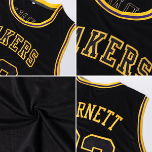 Custom Black Black-Gold Round Neck Rib-Knit Basketball Jersey