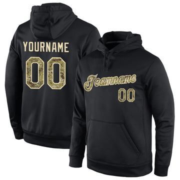 Custom Stitched Black Camo-Cream Sports Pullover Sweatshirt Hoodie