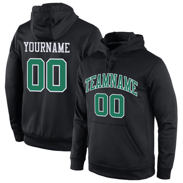 Custom Stitched Black Kelly Green-White Sports Pullover Sweatshirt Hoodie