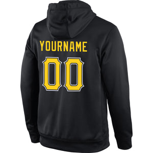 Custom Stitched Black Gold-White Sports Pullover Sweatshirt Hoodie