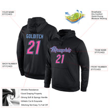 Load image into Gallery viewer, Custom Stitched Black Pink-Light Blue Sports Pullover Sweatshirt Hoodie
