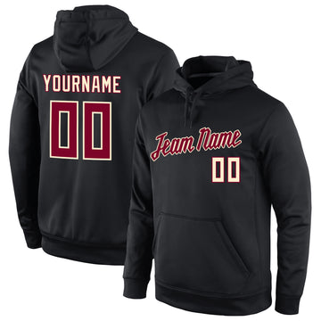 Custom Stitched Black Crimson-Cream Sports Pullover Sweatshirt Hoodie