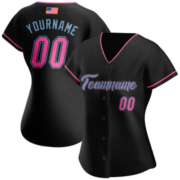 Custom Black Pink-Light Blue Authentic American Flag Fashion Baseball Jersey
