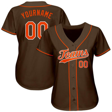 Custom Brown Orange-White Authentic Baseball Jersey