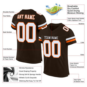 Custom Brown White-Orange Mesh Authentic Football Jersey