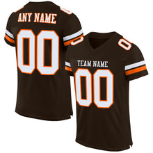 Load image into Gallery viewer, Custom Brown White-Orange Mesh Authentic Football Jersey