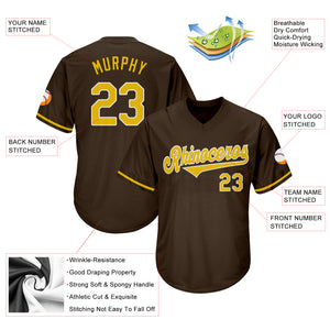 Custom Brown Gold-White Authentic Throwback Rib-Knit Baseball Jersey Shirt