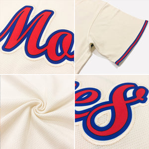 Custom Cream Red-Navy Authentic Throwback Rib-Knit Baseball Jersey Shirt