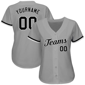 Custom Gray Black-White Authentic Baseball Jersey