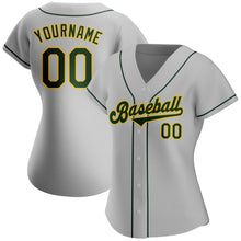 Load image into Gallery viewer, Custom Gray Green-Gold Authentic Baseball Jersey