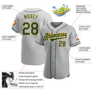 Custom Gray Green-Gold Authentic Baseball Jersey