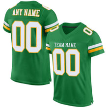 Load image into Gallery viewer, Custom Kelly Green White-Gold Mesh Authentic Football Jersey
