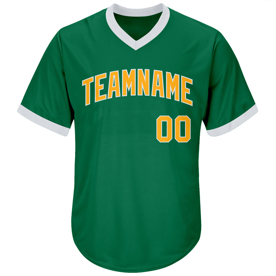 Custom Kelly Green Gold-White Authentic Throwback Rib-Knit Baseball Jersey Shirt