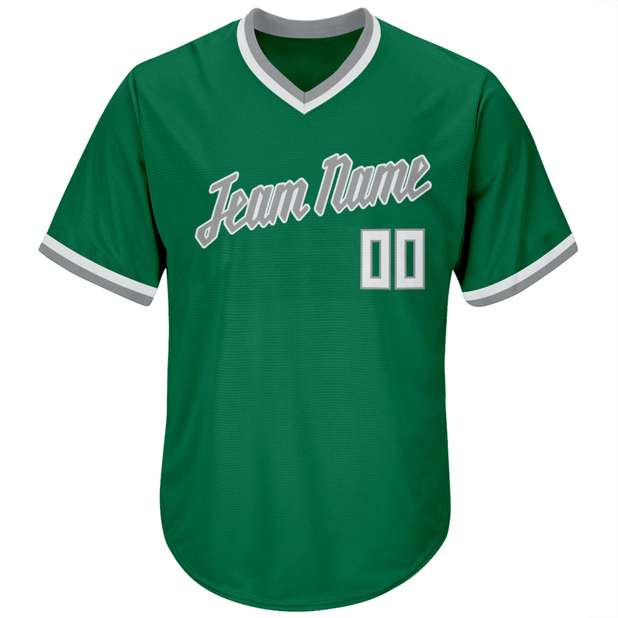Custom Kelly Green White-Gray Authentic Throwback Rib-Knit Baseball Jersey Shirt