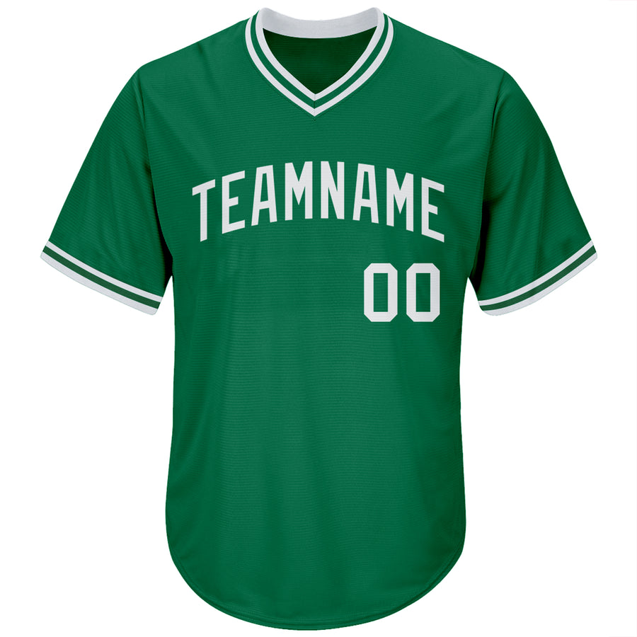 Custom Kelly Green White Authentic Throwback Rib-Knit Baseball Jersey Shirt