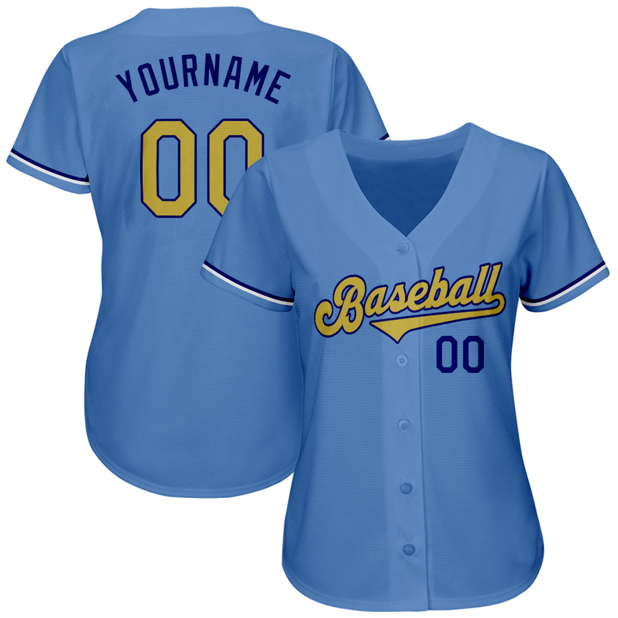 Custom Light Blue Old Gold-Royal Authentic Baseball Jersey