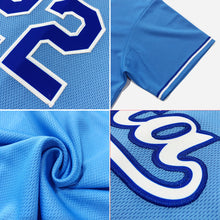 Load image into Gallery viewer, Custom Light Blue White-Royal Authentic Throwback Rib-Knit Baseball Jersey Shirt