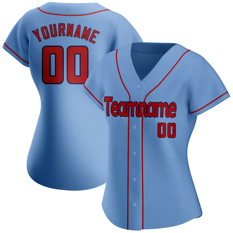 Custom Light Blue Red-Navy Authentic Baseball Jersey