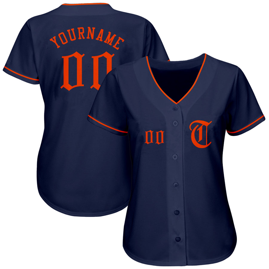 Custom Navy Orange Authentic Baseball Jersey