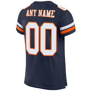 Custom Navy White-Orange Mesh Authentic Football Jersey