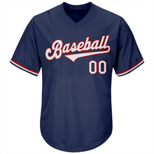 Load image into Gallery viewer, Custom Navy White-Red Authentic Throwback Rib-Knit Baseball Jersey Shirt