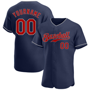 Custom Navy Red-Gray Authentic Baseball Jersey