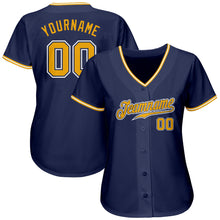 Load image into Gallery viewer, Custom Navy Gold-White Authentic Baseball Jersey