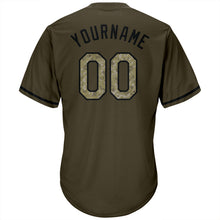 Load image into Gallery viewer, Custom Olive Camo-Black Authentic Salute To Service Throwback Rib-Knit Baseball Jersey Shirt