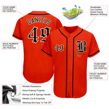 Load image into Gallery viewer, Custom Orange Black-Cream Authentic Baseball Jersey