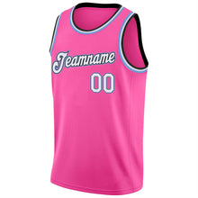 Load image into Gallery viewer, Custom Pink White-Light Blue Round Neck Rib-Knit Basketball Jersey