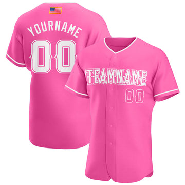 Custom Pink White Authentic American Flag Fashion Baseball Jersey