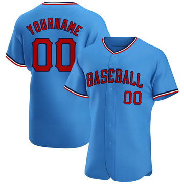 Custom Powder Blue Red-Navy Authentic Baseball Jersey