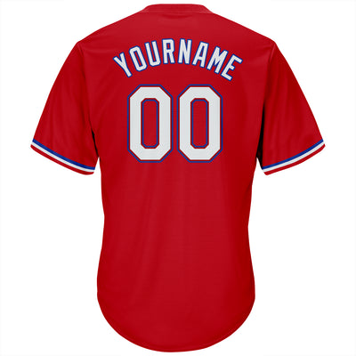 Custom Red White-Royal Authentic Throwback Rib-Knit Baseball Jersey Shirt