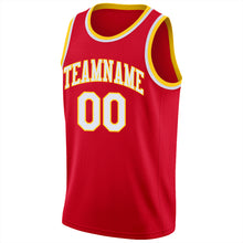 Load image into Gallery viewer, Custom Red White-Gold Round Neck Rib-Knit Basketball Jersey