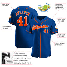 Load image into Gallery viewer, Custom Royal Orange-White Authentic Baseball Jersey