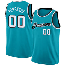 Load image into Gallery viewer, Custom Teal White-Black Round Neck Rib-Knit Basketball Jersey