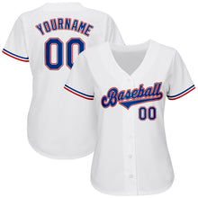 Load image into Gallery viewer, Custom White Royal-Red Authentic Baseball Jersey