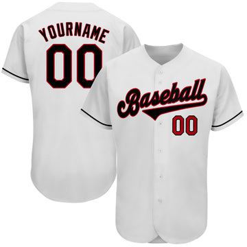 Custom White Black-Red Authentic Baseball Jersey