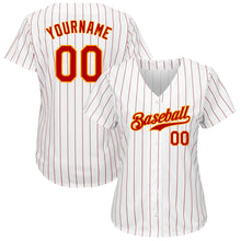 Load image into Gallery viewer, Custom White Red Strip Red-Gold Authentic Baseball Jersey