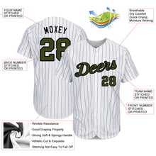 Load image into Gallery viewer, Custom White Royal Strip Olive-Black Authentic Memorial Day Baseball Jersey