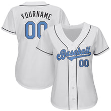 Load image into Gallery viewer, Custom White Light Blue-Dark Gray Authentic Father's Day Baseball Jersey