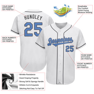 Custom White Light Blue-Dark Gray Authentic Father's Day Baseball Jersey