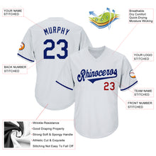 Load image into Gallery viewer, Custom White Royal-Red Authentic Throwback Rib-Knit Baseball Jersey Shirt