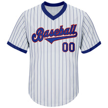 Load image into Gallery viewer, Custom White Royal Strip Royal-Red Authentic Throwback Rib-Knit Baseball Jersey Shirt