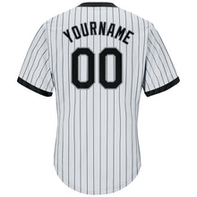 Load image into Gallery viewer, Custom White Black Strip Black-Gray Authentic Throwback Rib-Knit Baseball Jersey Shirt