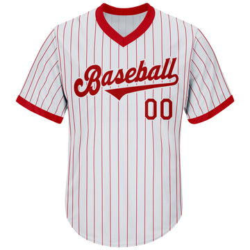 Custom White Red Strip Red-White Authentic Throwback Rib-Knit Baseball Jersey Shirt