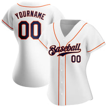 Load image into Gallery viewer, Custom White Navy-Orange Authentic Baseball Jersey