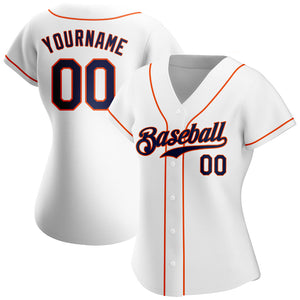 Custom White Navy-Orange Authentic Baseball Jersey